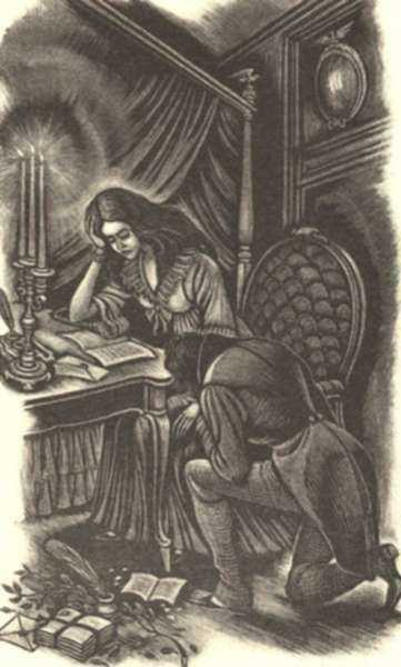 Print by Fritz Eichenberg: Eugene Onegin [Man kneeling next to woman], represented by Childs Gallery