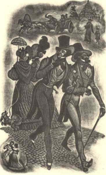 Print by Fritz Eichenberg: Eugene Onegin [Passing in the street], represented by Childs Gallery