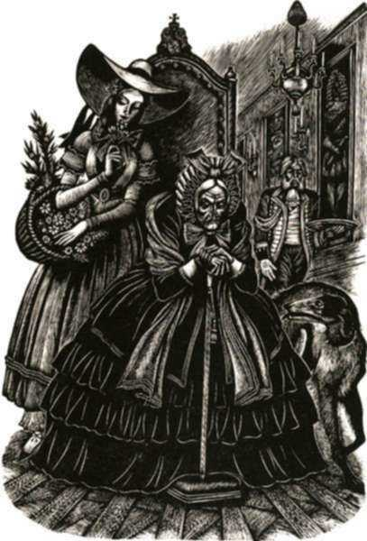 Print by Fritz Eichenberg: Fathers and Sons [Old woman and young girl], represented by Childs Gallery