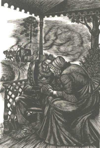 Print by Fritz Eichenberg: Fathers and Sons [Older couple on the porch], represented by Childs Gallery