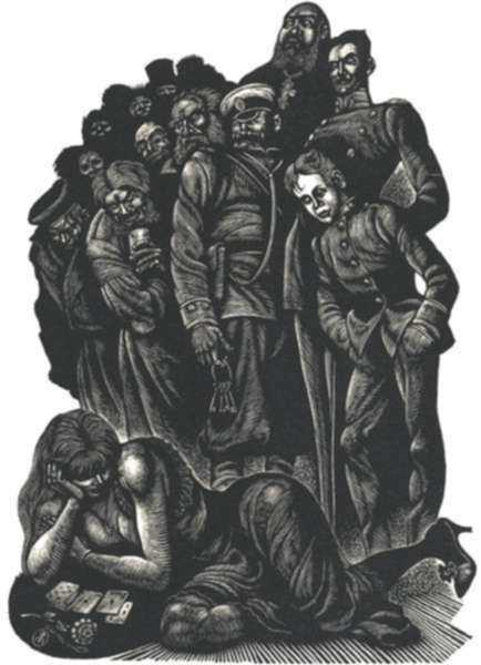 Print by Fritz Eichenberg: Resurrection XLIV  Book I [Playing cards], represented by Childs Gallery