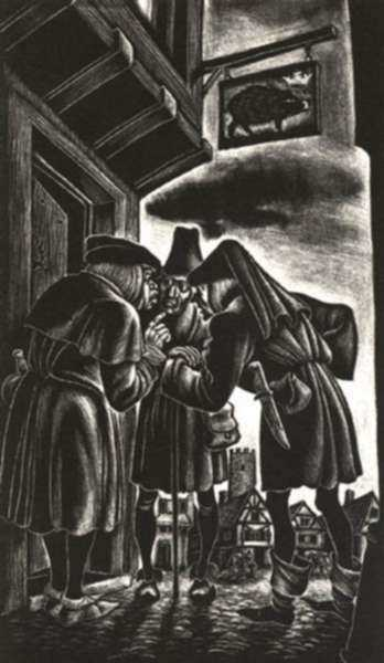 Print by Fritz Eichenberg: Richard III [Act II, scene iii: Londoners talk about the day, represented by Childs Gallery