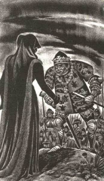 Print by Fritz Eichenberg: Richard III [Act IV, scene iv: Richard is cursed by the Duch, represented by Childs Gallery