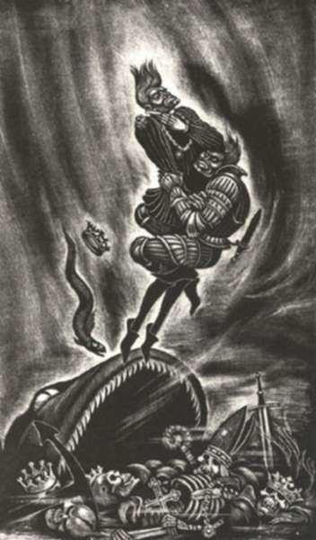 Print by Fritz Eichenberg: Richard III [Act V, scene v], represented by Childs Gallery