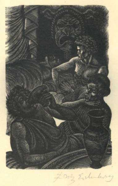 Print by Fritz Eichenberg: Tales of Poe [Drinking and Death], represented by Childs Gallery