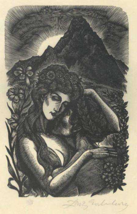 Print by Fritz Eichenberg: Tales of Poe [Love in the countryside], represented by Childs Gallery