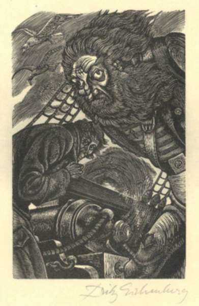Print by Fritz Eichenberg: Tales of Poe (MS. Found in a Bottle), represented by Childs Gallery