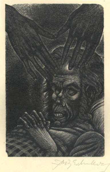 Print by Fritz Eichenberg: Tales of Poe (The Facts in the Case of M Valdemar), represented by Childs Gallery