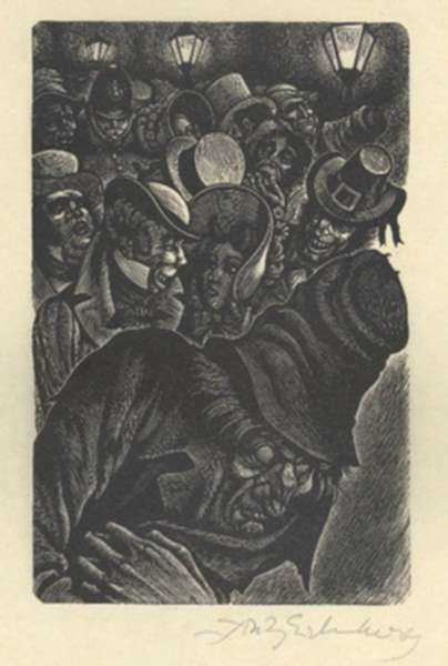 Print by Fritz Eichenberg: Tales of Poe (The Man of the Crowd), represented by Childs Gallery