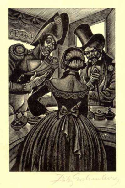 Print by Fritz Eichenberg: Tales of Poe (The Mystery of Marie Roget), represented by Childs Gallery