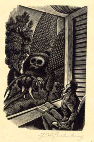 Print by Fritz Eichenberg: Tales of Poe (The Sphinx), represented by Childs Gallery