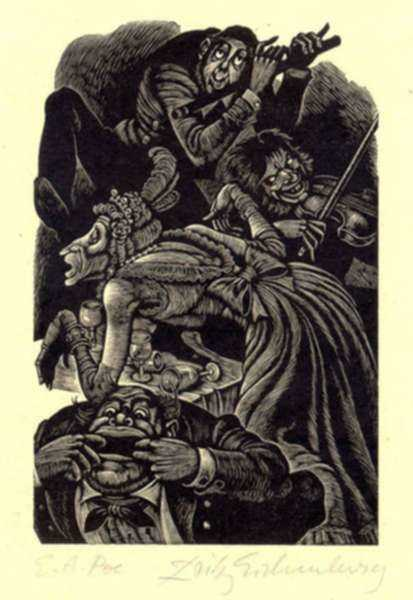 Print by Fritz Eichenberg: Tales of Poe (The System of Dr. Tarr and Professor Fether), represented by Childs Gallery