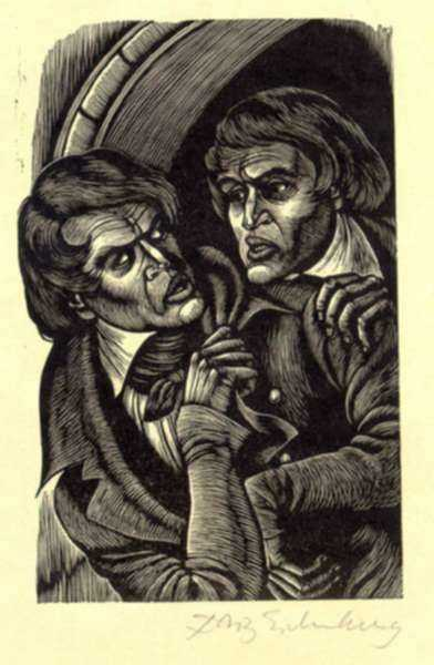 Print by Fritz Eichenberg: Tales of Poe (William Wilson), represented by Childs Gallery