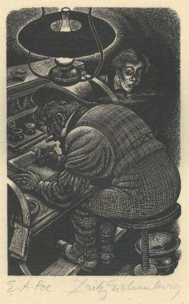 Print by Fritz Eichenberg: Tales of Poe (X-ing a Paragrab), represented by Childs Gallery