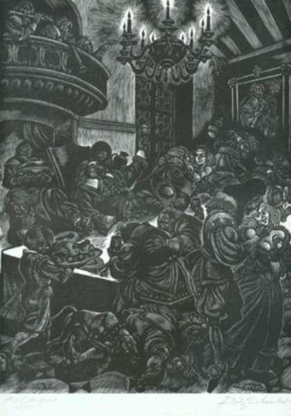 Print by Fritz Eichenberg: The Adventures of Simplicius Simplicissimus: The Drunken Fea, represented by Childs Gallery