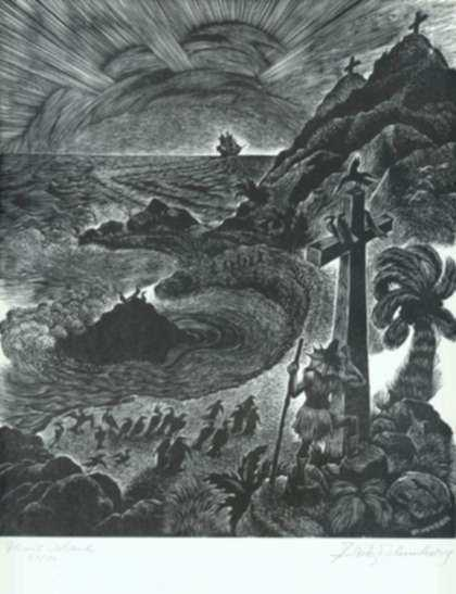 Print by Fritz Eichenberg: The Adventures of Simplicius Simplicissimus: The End of the , represented by Childs Gallery