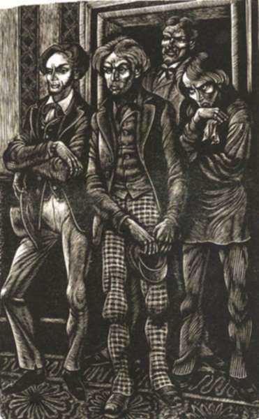 Print by Fritz Eichenberg: The Idiot [Four men], represented by Childs Gallery