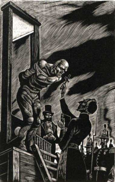 Print by Fritz Eichenberg: the Idiot [Guillotine], represented by Childs Gallery