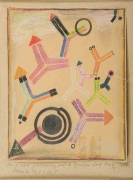 Drawing by Fritz Levedag: Arrows and Rings, represented by Childs Gallery