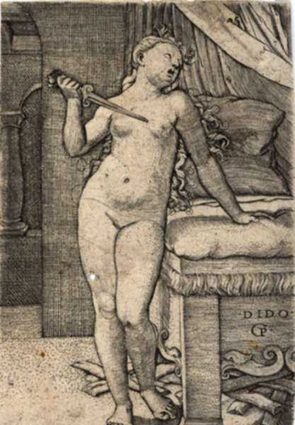 Print by Georg Pencz: Dido Committing Suicide, represented by Childs Gallery