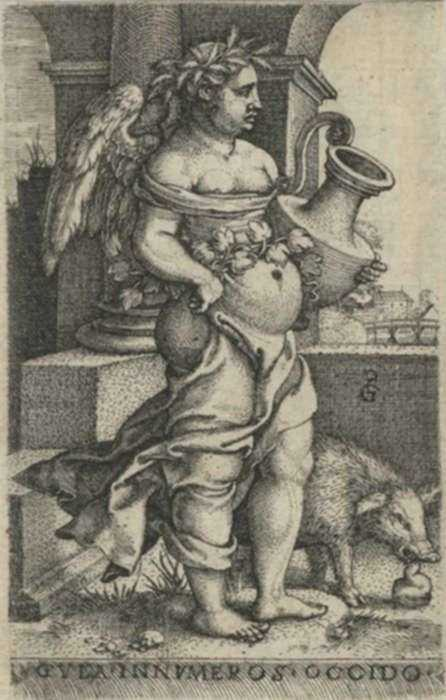 Print by Georg Pencz: Gula [Gluttony], from The Seven Mortal Sins, represented by Childs Gallery