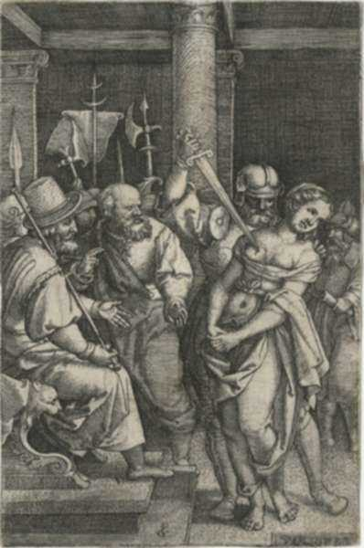 Print by Georg Pencz: Virginius Killing His Daughter, represented by Childs Gallery