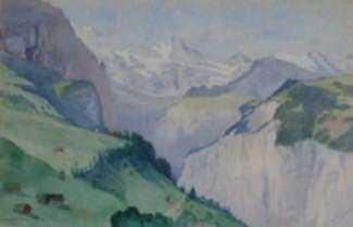 Watercolor by George B. Wood: Grosshorn and Breithorn [Switzerland], represented by Childs Gallery