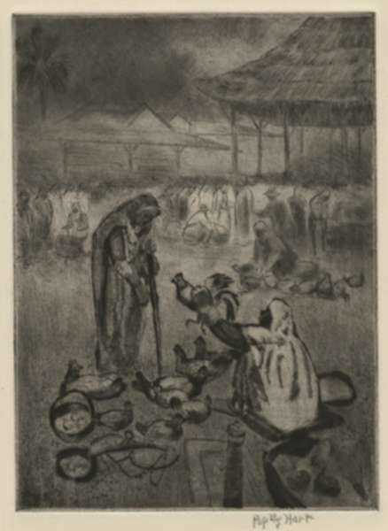 Print by George Overbury (Pop) Hart: Chicken Vendor, Trinidad, represented by Childs Gallery