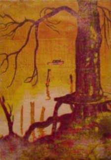 Print by George Zell Heuston: The Tree Bench, represented by Childs Gallery