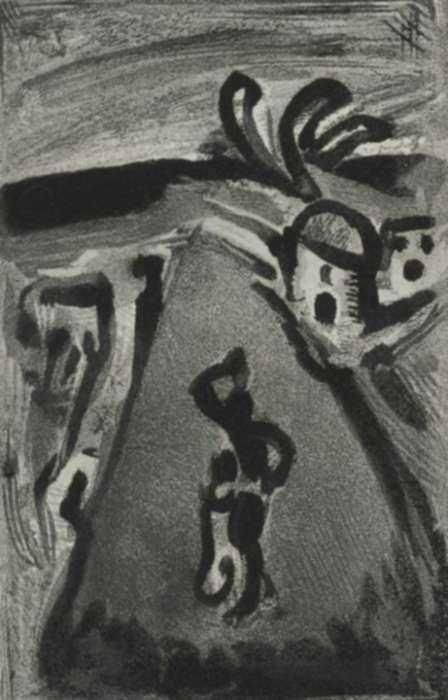 Print by Georges Rouault: Paysage avec Negresse portant une cruche sur la tete (Landsc, represented by Childs Gallery