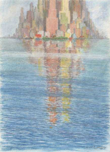 Print by Gerald K. Geerlings: Cityscape Reflections - Mood No. 11, represented by Childs Gallery