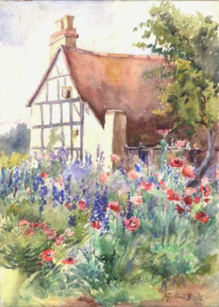 Watercolor by Gertrude Beals Bourne: Garden in Slottery - Larkspur and Poppies, represented by Childs Gallery