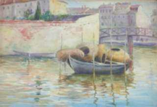 Watercolor by Gertrude Beals Bourne: Lobster Pots - Brittany, France, represented by Childs Gallery