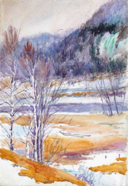 Watercolor by Gertrude Beals Bourne: Mt. Winthrop and Moses Ledge, Androscoggin River, Shelburne,, represented by Childs Gallery
