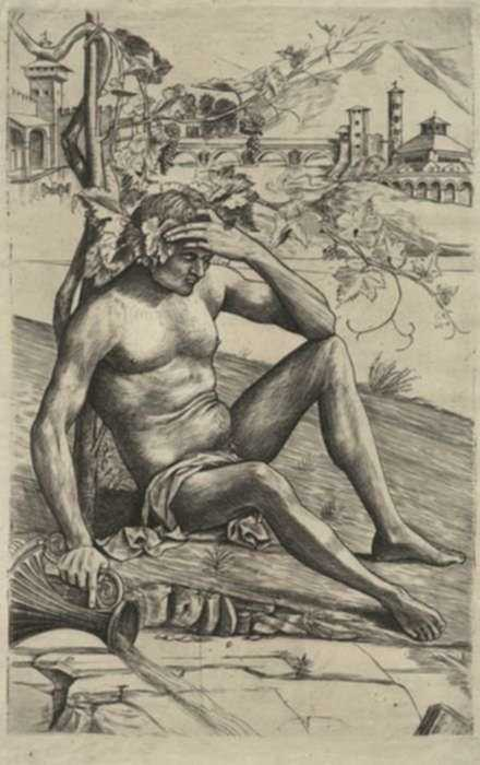 Print by Girolamo Mocetto: Seated Nude or Bacchus, [after Giovanni Bellini, Italian (c., represented by Childs Gallery