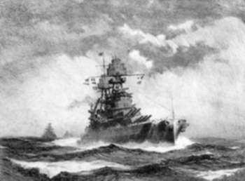 Print by Gordon Grant: Freedom of the Seas, USS Pennsylvania, represented by Childs Gallery