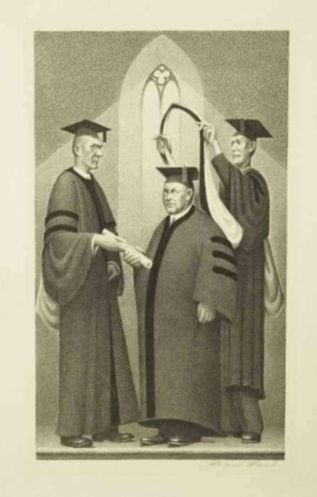 Print by Grant Wood: Honorary Degree, represented by Childs Gallery