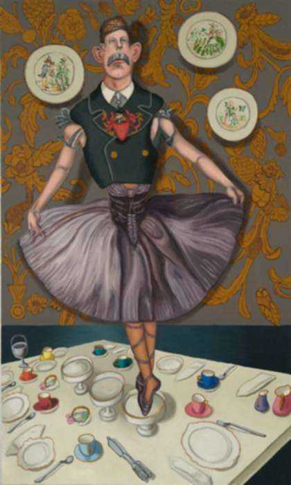 Painting by Hannah Barrett: Tales from the House of Gibson: Lady Travesty, represented by Childs Gallery