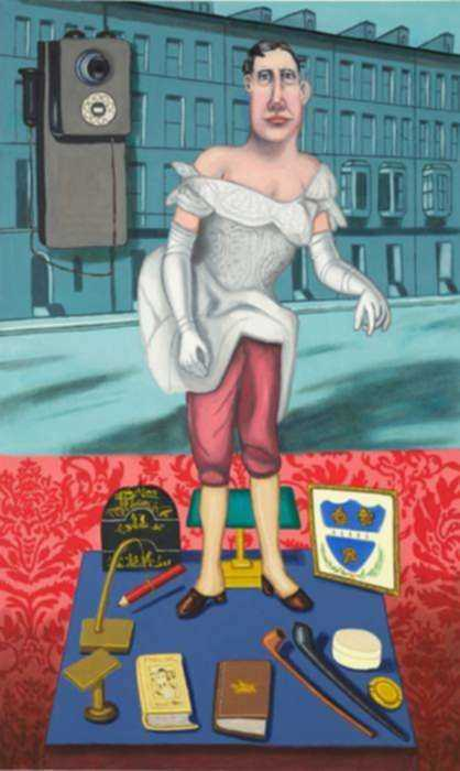 Painting by Hannah Barrett: Tales from the House of Gibson: Mr. Quackenboss, represented by Childs Gallery