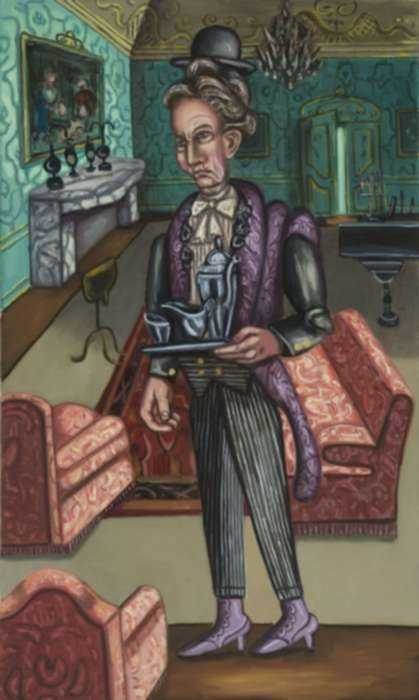 Painting by Hannah Barrett: The English Servant, represented by Childs Gallery