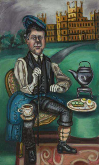 Painting by Hannah Barrett: The English Tourist, represented by Childs Gallery