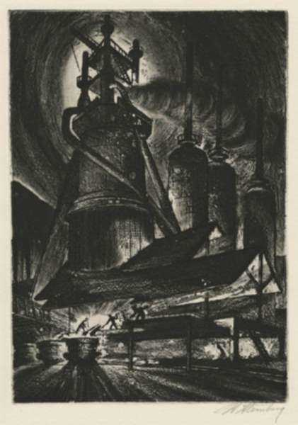 Print by Harry Sternberg: Blast Furnace #1, represented by Childs Gallery