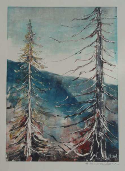 Print by Hellmuth Weissenborn: [Treetops], represented by Childs Gallery