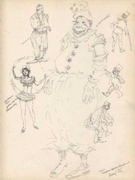 Drawing by Henry C. Pitz: Circus Clown Sketch, Madison Square Garden (New York), represented by Childs Gallery