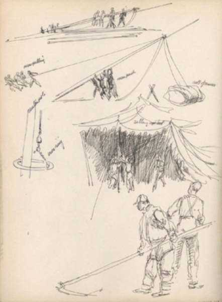 Drawing by Henry C. Pitz: Sketch of Circus Tent Erection, represented by Childs Gallery
