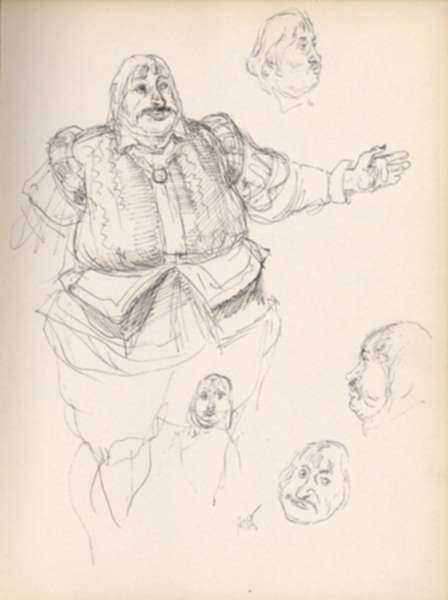 Drawing by Henry C. Pitz: Sketch of Large Circus Man, represented by Childs Gallery