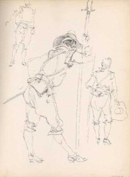 Drawing by Henry C. Pitz: Sketch of Soldier (4), represented by Childs Gallery