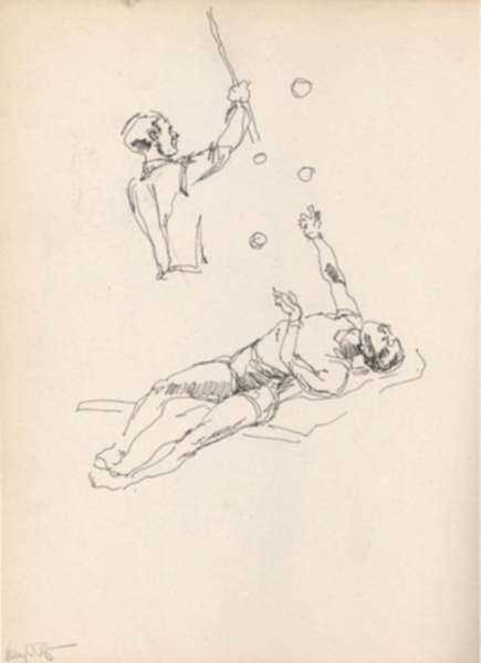 Drawing by Henry C. Pitz: Sketches of Circus Entertainers (5), represented by Childs Gallery