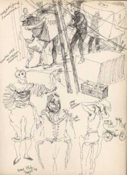 Drawing by Henry C. Pitz: Sketches of Circus Entertainers [Philadelphia, Pennsylvania], represented by Childs Gallery