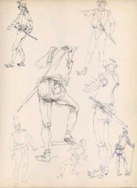 Drawing by Henry C. Pitz: Sketches of Circus Performers with Swords, represented by Childs Gallery